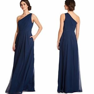 Weddington Way Navy Blue One Shoulder Grecian Gown
